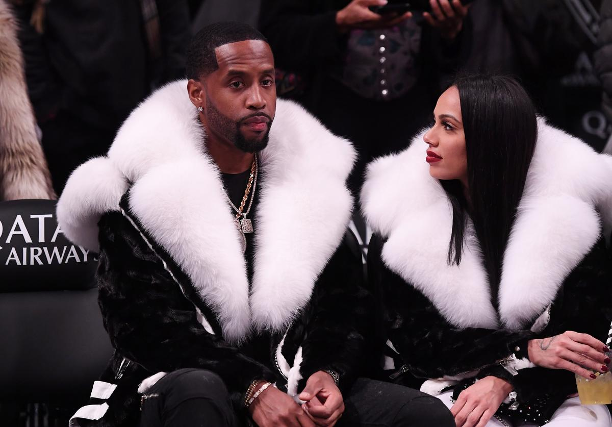 Safaree Samuels and Erica Mena attend the game between the Utah Jazz and the Brooklyn Nets at Barclays Center on November 28, 2018