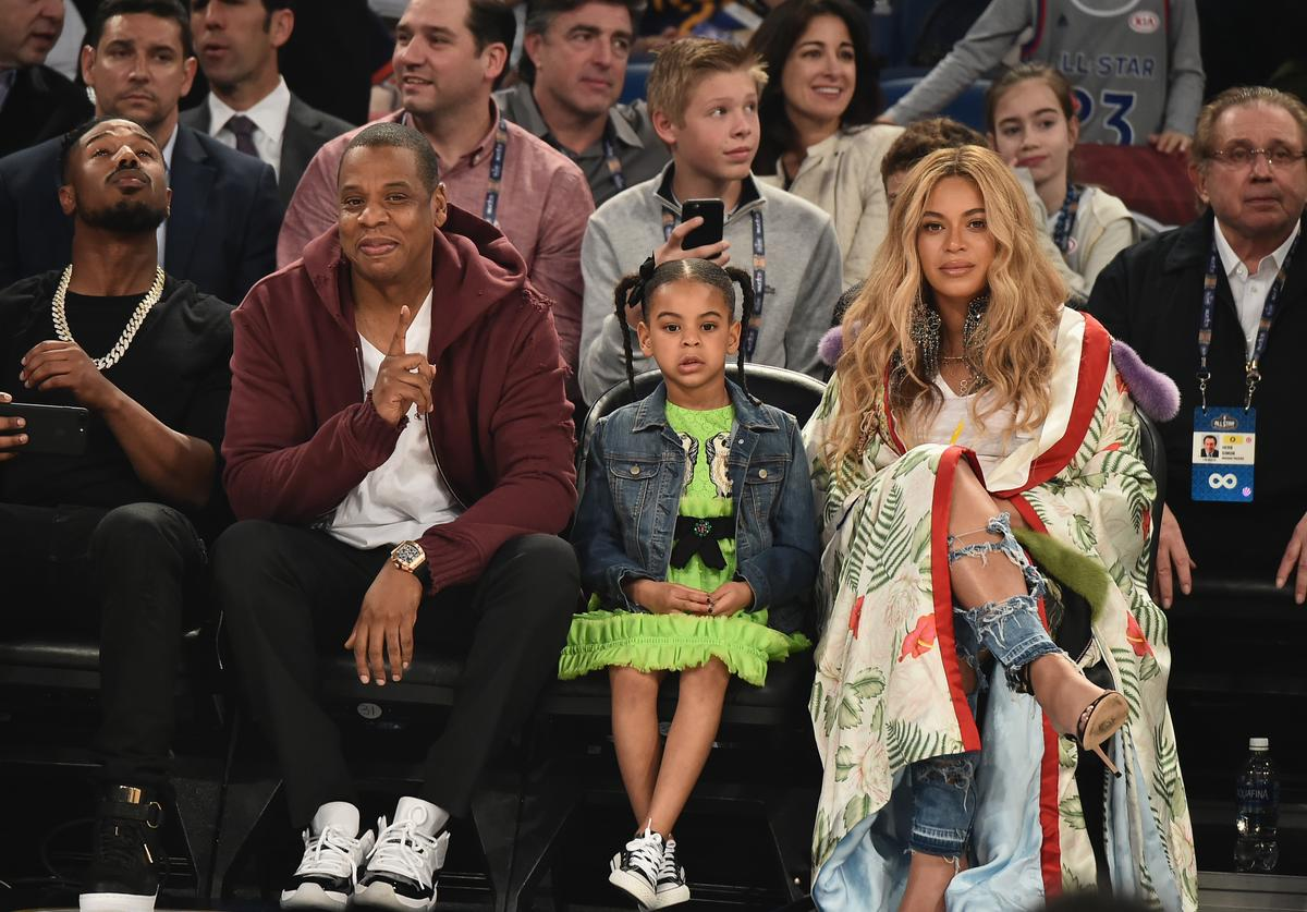Jay Z, Blue Ivy, and Beyonce Attend The 66th NBA All-Star Game