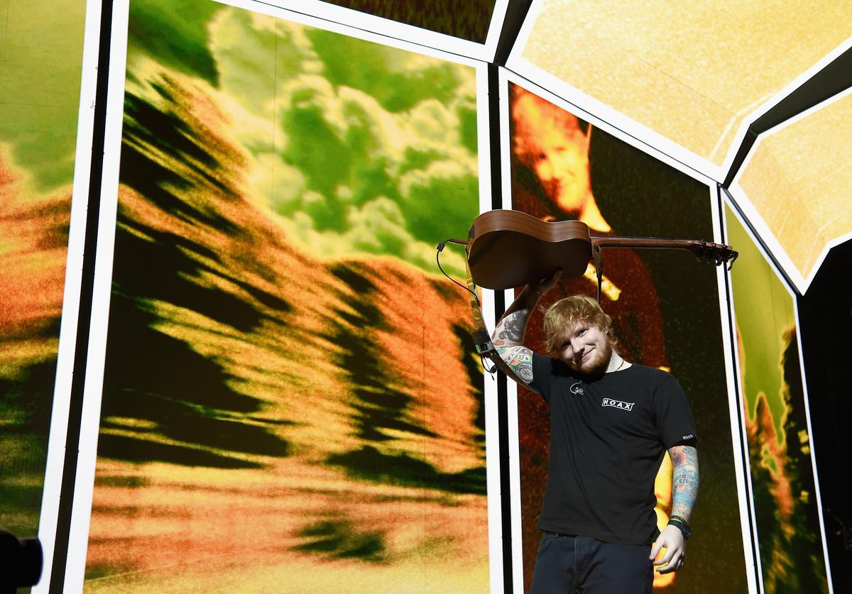 Musician Ed Sheeran performs on stage at Barclays Center of Brooklyn on September 30, 2017 in New York City.