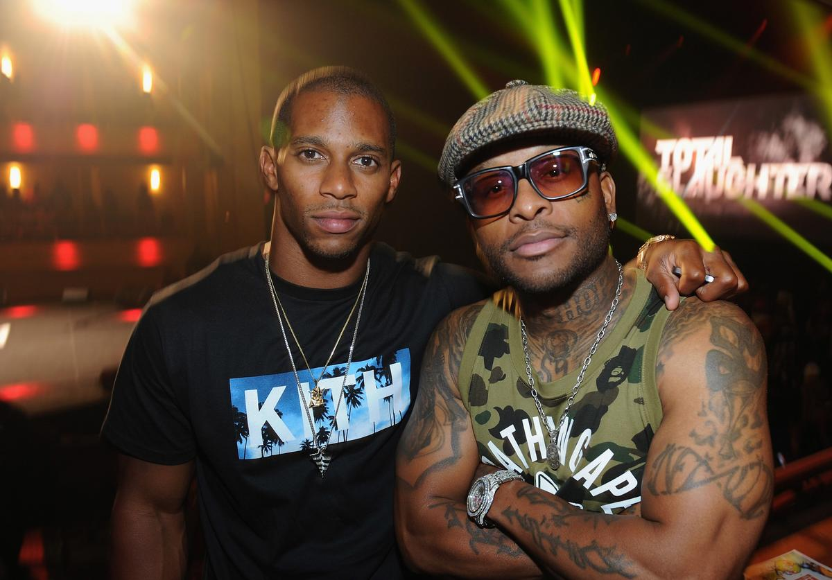Victor Cruz and Royce da 5'9' attend the Total Slaughter, hosted by Shady Films and WatchLOUD.com at Hammerstein Ballroom on July 12, 2014 in New York City.