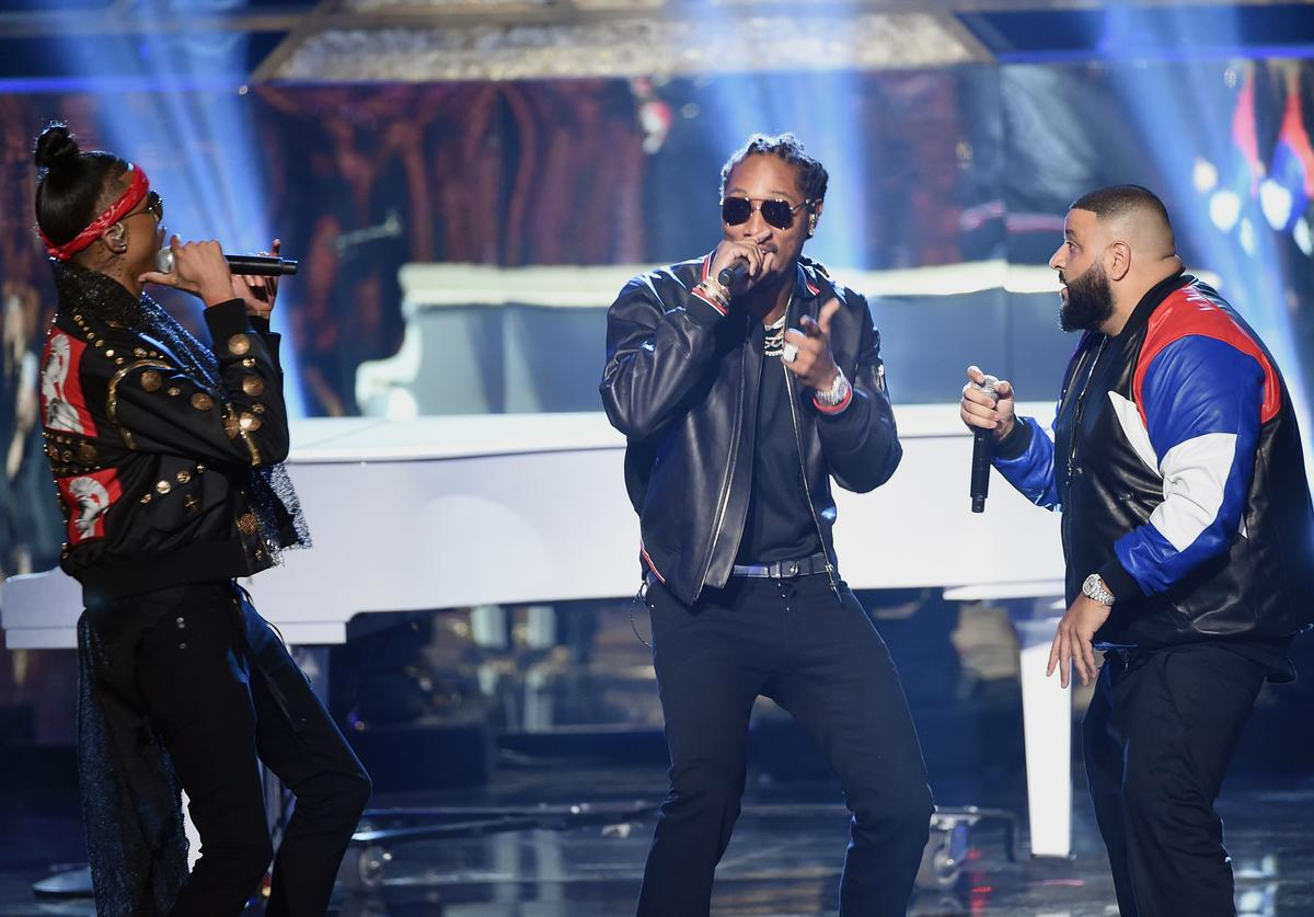 August Alsina and Future and DJ Khaled perform onstage during the 2016 American Music Awards at Microsoft Theater on November 20, 2016 in Los Angeles, California