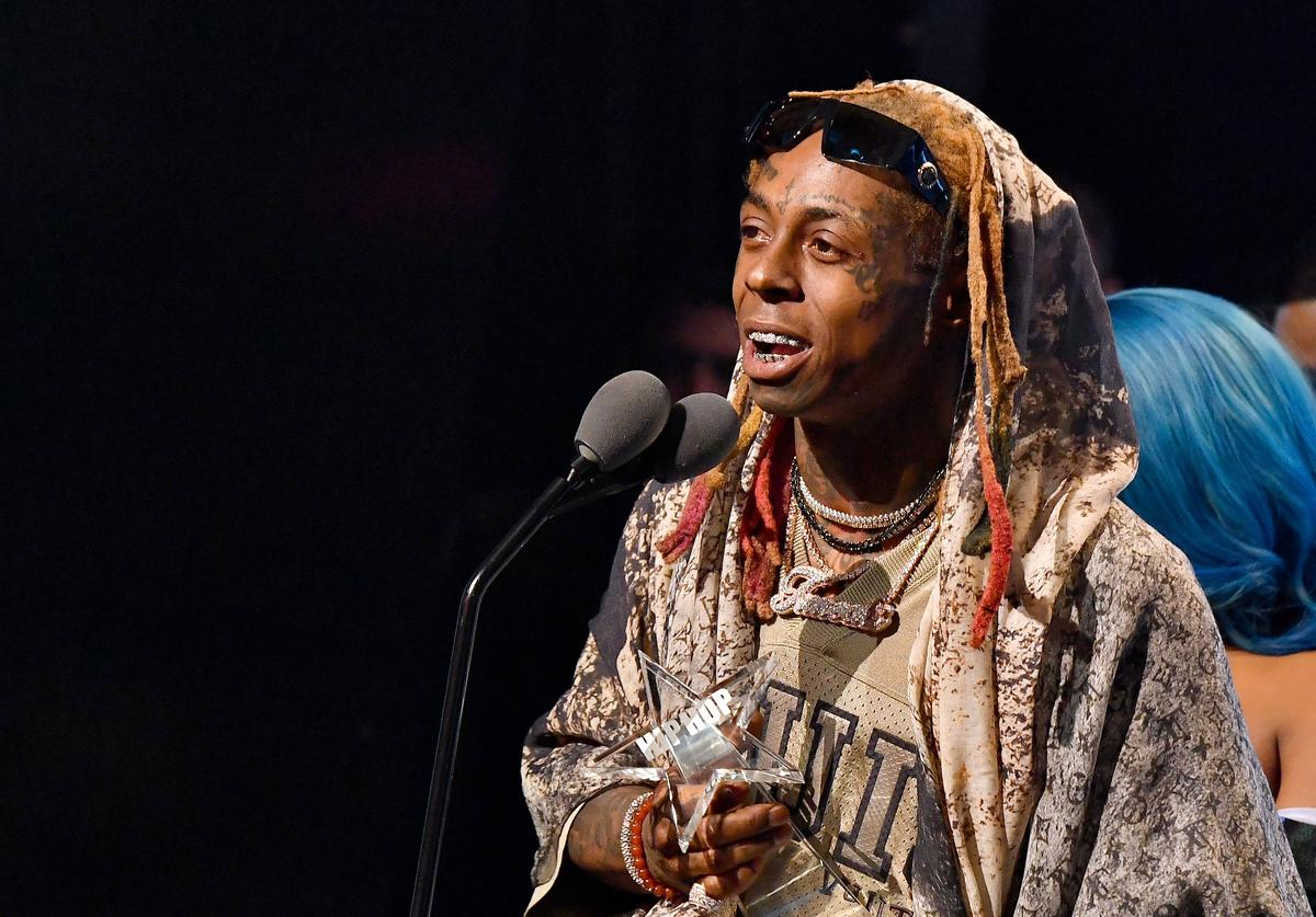 Lil Wayne accepts an award onstage during the BET Hip Hop Awards 2018 at Fillmore Miami Beach on October 6, 2018 in Miami Beach, Florida