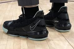 """LeBron James Flexes """"Glow In The Dark"""" LeBron 16's At Lakers Game"""