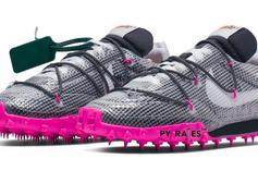 Off White X Nike Waffle Racer Appears In Fuchsia Colorway: First Look