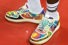 LeBron James Steps Out In Travis Scott x Nike AF1 Low Tie-Dye Customs