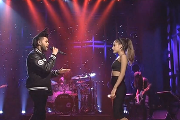 """Ariana Grande & The Weeknd Perform """"Love Me Harder"""" on SNL"""