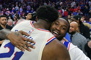 Joel Embiid Celebrates With Meek Mill, Kevin Hart After Sixers Advance