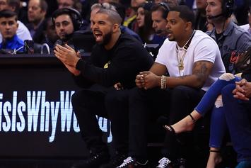 Drake & Kendrick Perkins Get Into Heated Exchange During Halftime Of Raptors Game