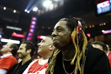 Lil Wayne & Travis Scott Spotted At Houston Rockets Game