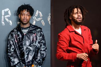 "21 Savage & J. Cole Look Dapper On The Set Of ""A Lot"" Music Video"