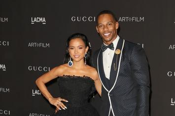 Karrueche's Man Victor Cruz Is Her Biggest Fan At New York Fashion Show