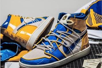 Warriors x Air Jordan 1 Collab Made From Authentic Jerseys & Nets: First Look