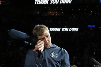 Dirk Nowitzki Overcome With Emotion During Final NBA Game