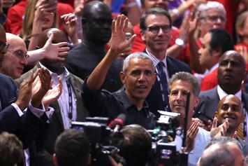 Barack Obama Daps Up Drake At Raptors Game, Receives MVP Chant