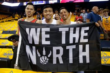 """Raptors Fans Invade Oracle Arena With """"O Canada"""" After Game 3 Win"""