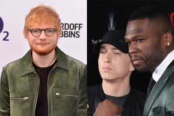 """Eminem, 50 Cent & Ed Sheeran Pose With """"Revival"""" Plaques To Celebrate New Song"""