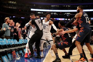 NBA's Knicks & Grizzlies Brawl After Elfrid Payton Hard-Shoves Jae Crowder