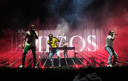 Rappers Quavo, Takeoff and Offset of Migos perform at the Outdoor Stage during day 2 of the Coachella Valley Music And Arts Festival (Weekend 1) at the Empire Polo Club on April 15, 2017 in Indio, California.