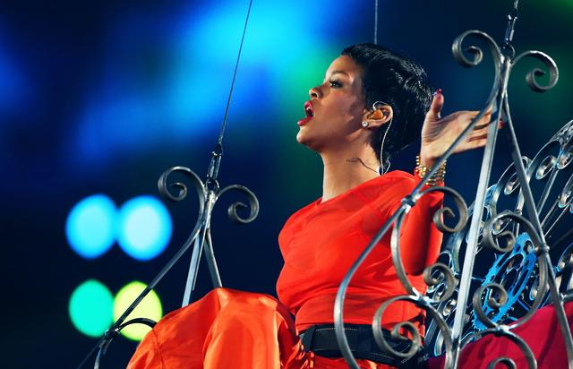 Singer Rihanna performs during the closing ceremony on day 11 of the London 2012 Paralympic Games at Olympic Stadium on September 9, 2012 in London, England