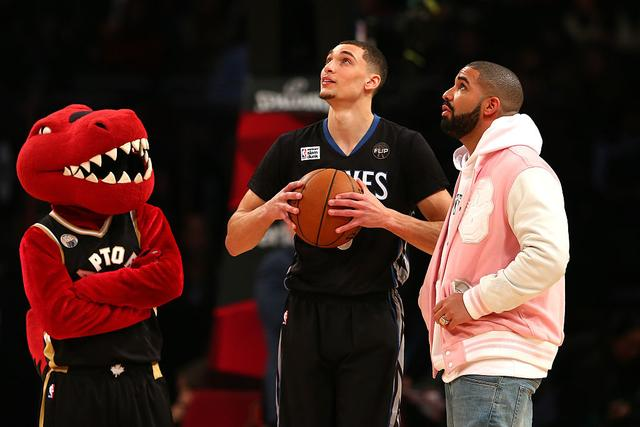 Zach LaVine of the Minnesota Timberwolves looks on with rapper Drake in the Verizon Slam Dunk Contest during NBA All-Star Weekend 2016 at Air Canada Centre on February 13, 2016 in Toronto, Canada.