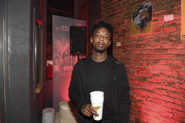 21 Savage with a double cup in Atlanta