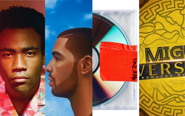 "Childish Gambino ""Because the Internet,"" Drake ""NWTS,"" Kanye West ""Yeezus,"" Migos ""Versace"" artwork"
